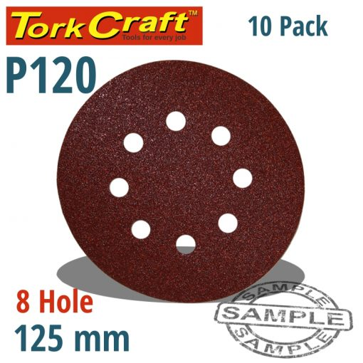 SANDING DISC 125MM 120 GRIT WITH HOLES 10/PK HOOK AND LOOP
