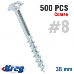 KREG ZINC POCKET HOLE SCREWS 38MM 1.50' #8 COARSE THREAD MX LOC 500CT